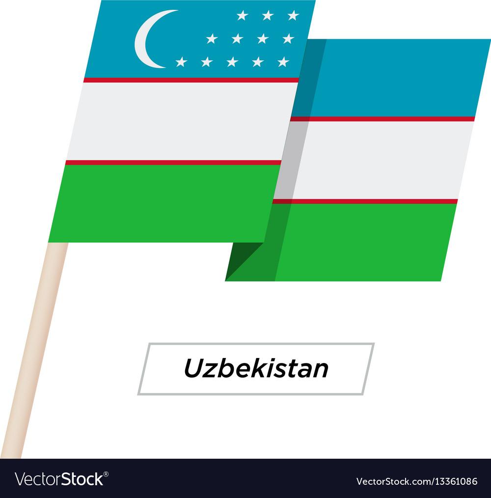 Uzbekistan ribbon waving flag isolated on white vector image