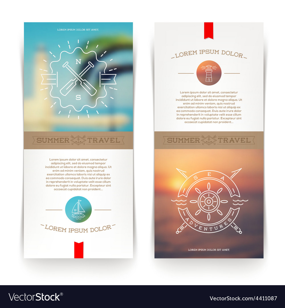 Banners with line drawing Nautical sign vector image