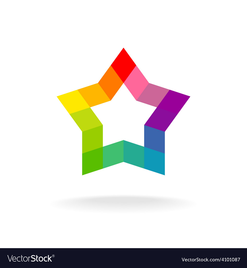 Colorful star sign Rhombus elements vector image
