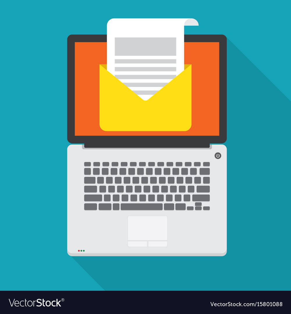 Laptop with open email message on the screen vector image