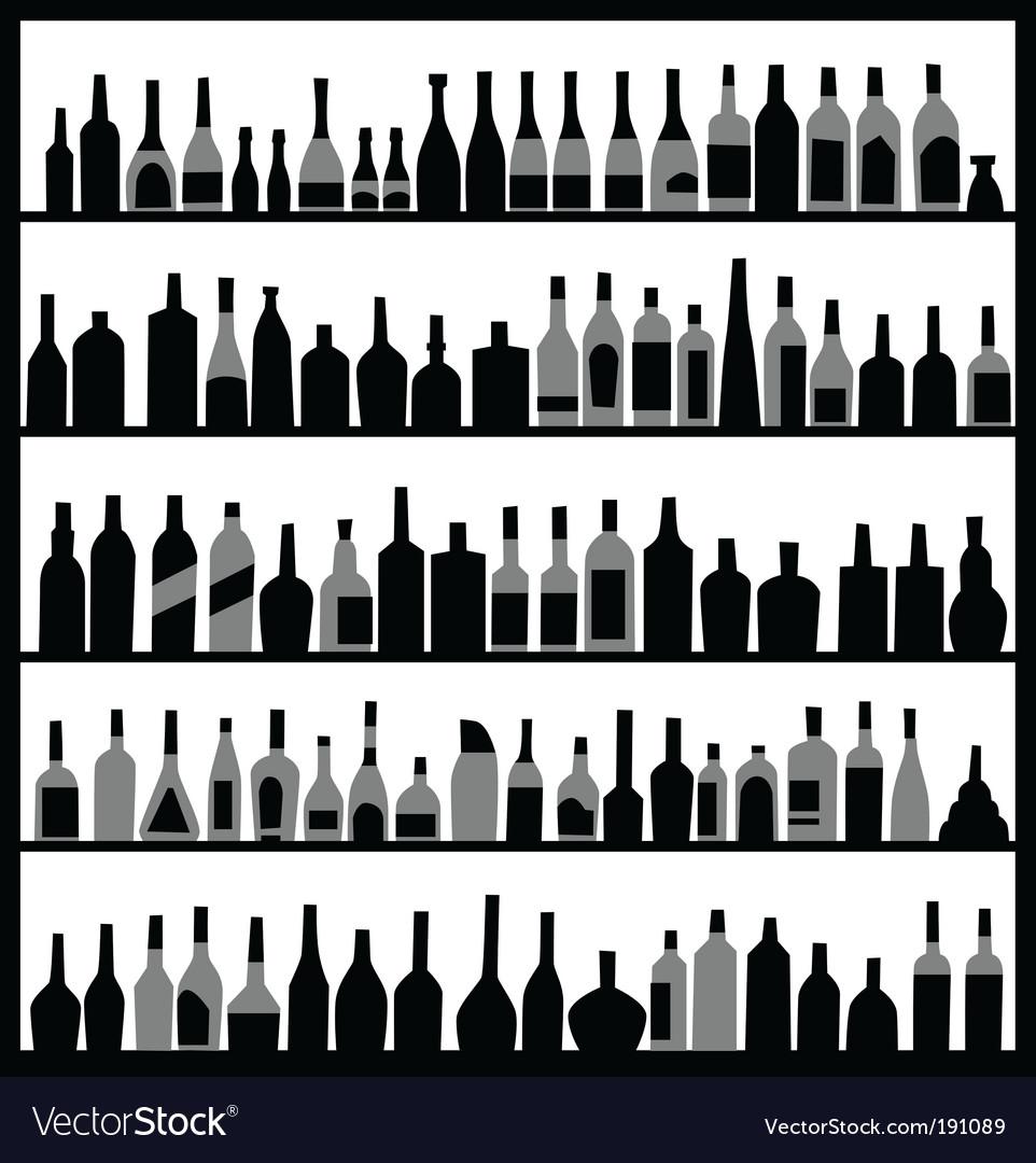 Alcohol bottles vector image