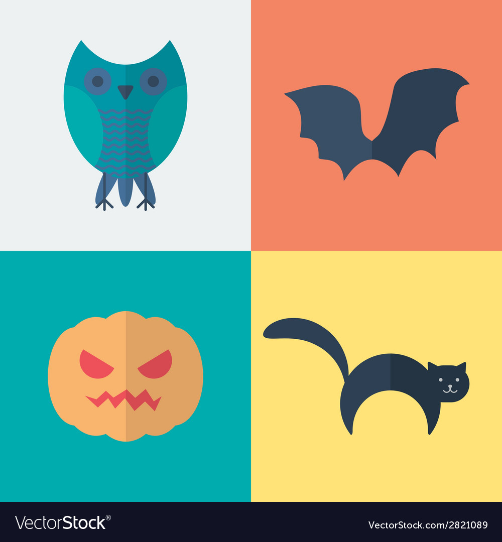 Flat Halloween Icons vector image