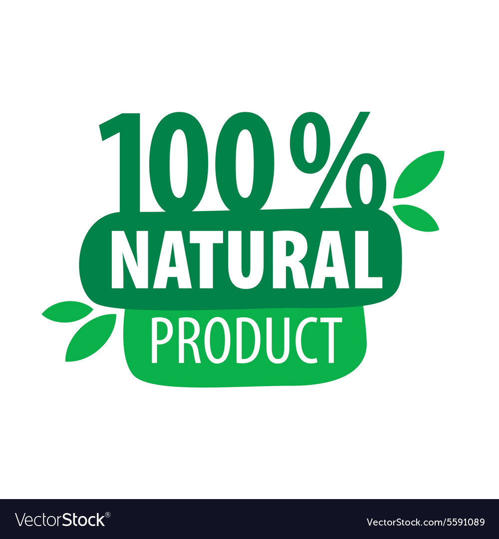 Green logo for 100 natural products vector image