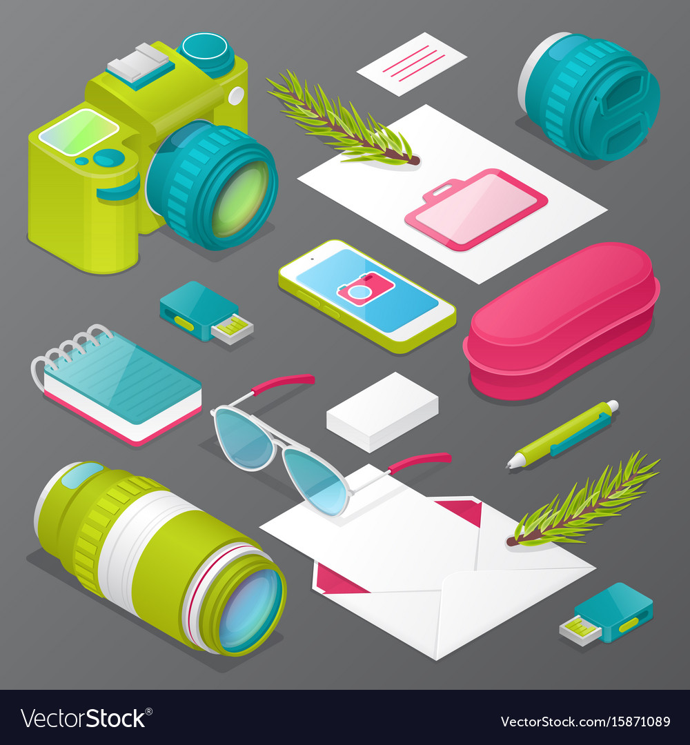 Photographer mockup with camera lens vector image