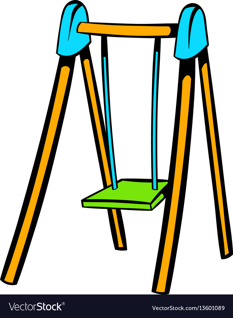 Playground swing icon icon cartoon vector image