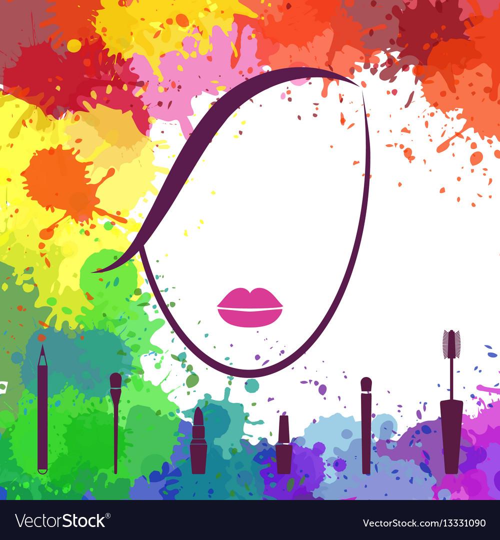 Face of beautiful girl makeup artist fashion vector image