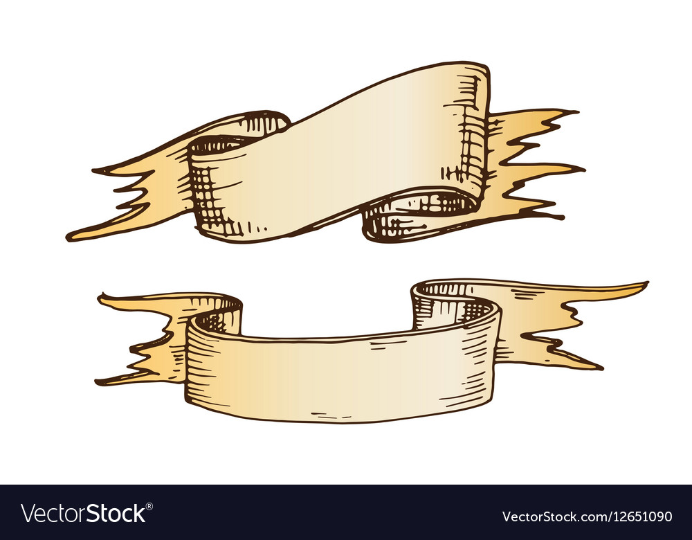 Hand drawn ribbons vector image