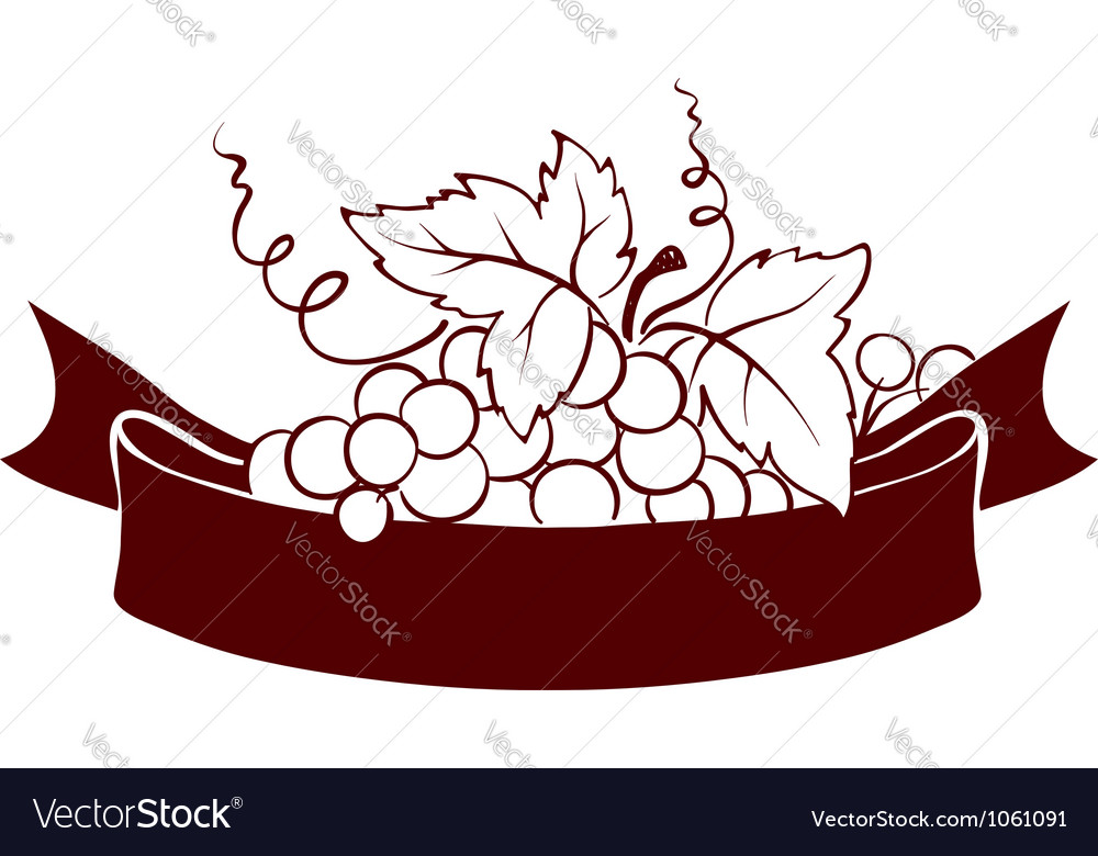 Design elements - grape with ribbon vector image