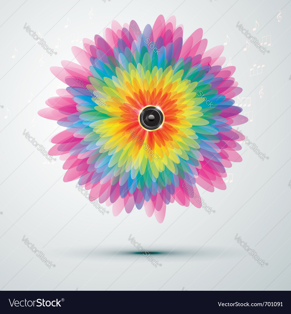 Rainbow music flower vector image