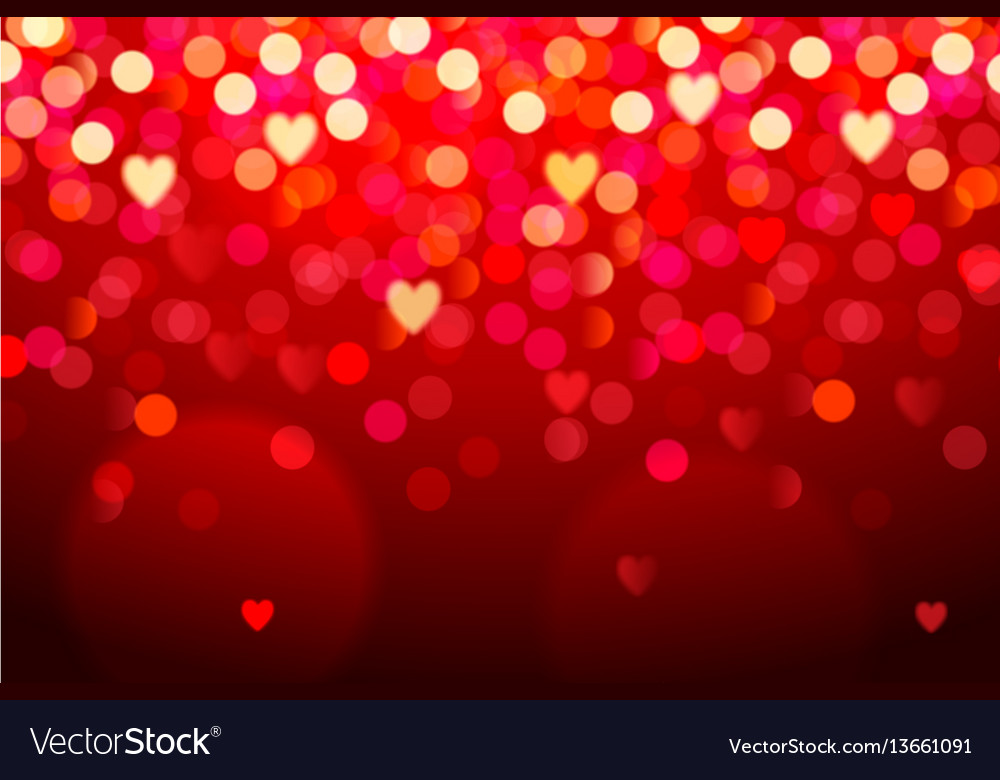 Red background with hearts and bokeh lights vector image