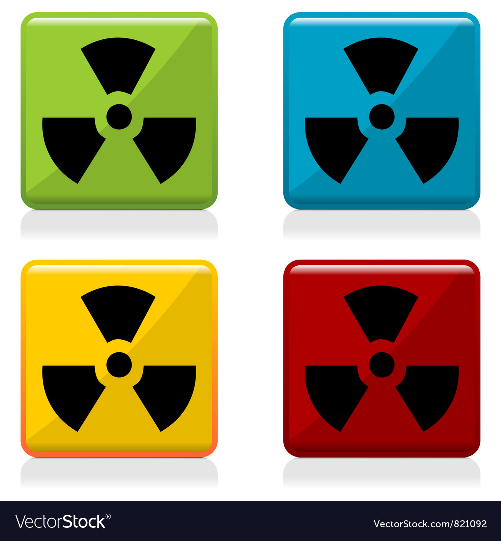 Radioactivity sign buttons vector image