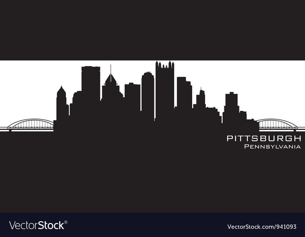 Pittsburgh Pennsylvania skyline Detailed silhouett vector image