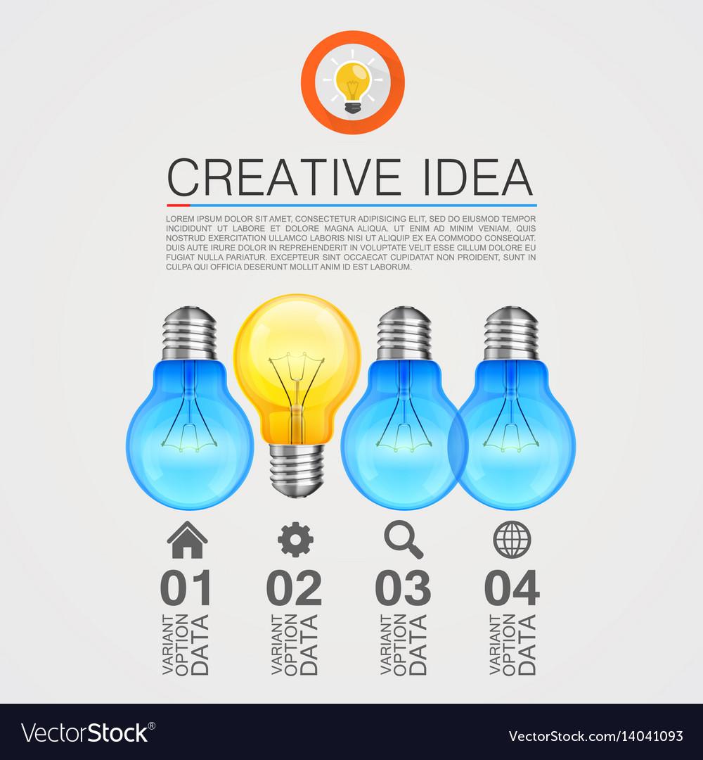 Creative idea idea lamp light white background vector image