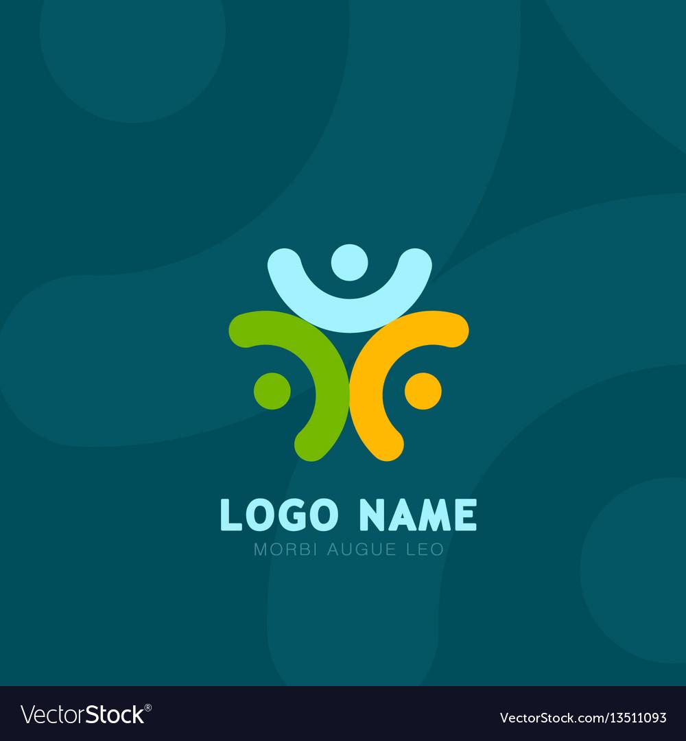 People logo grroup of three people logos social vector image
