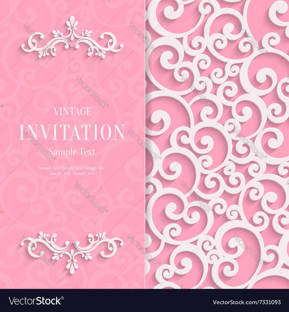 Pink 3d vintage invitation card with swirl vector image stopboris Choice Image