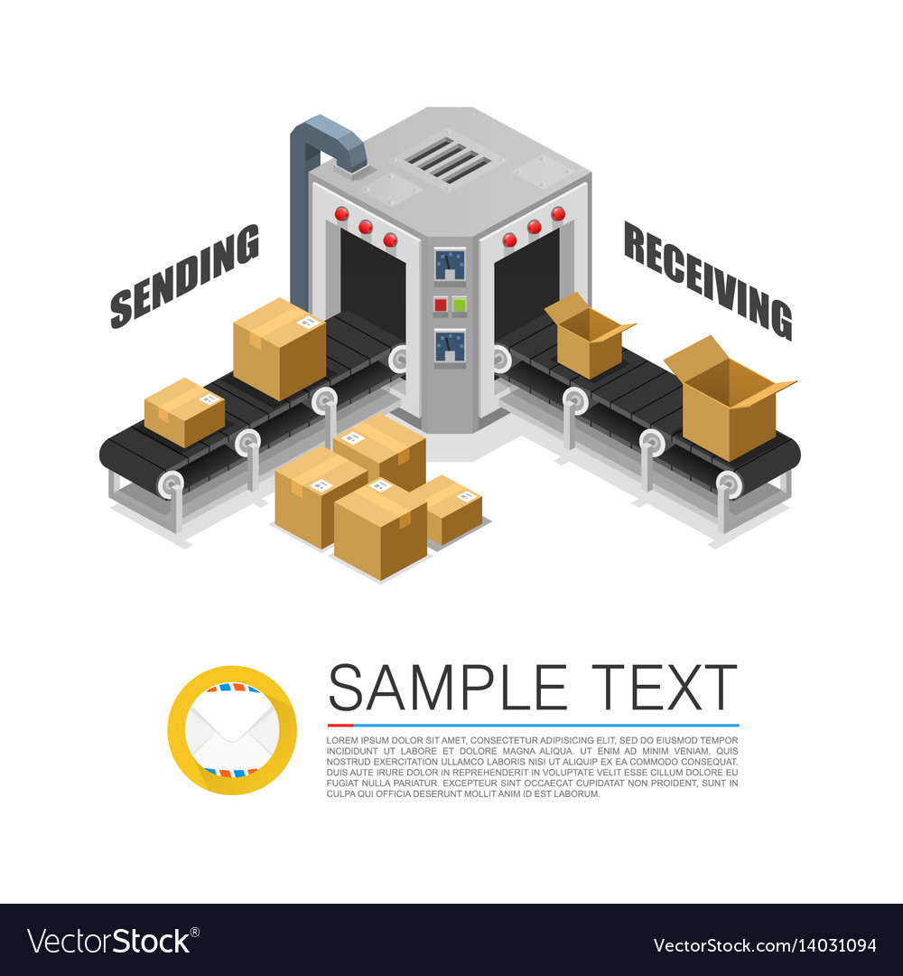 Conveyor packing parcels vector image