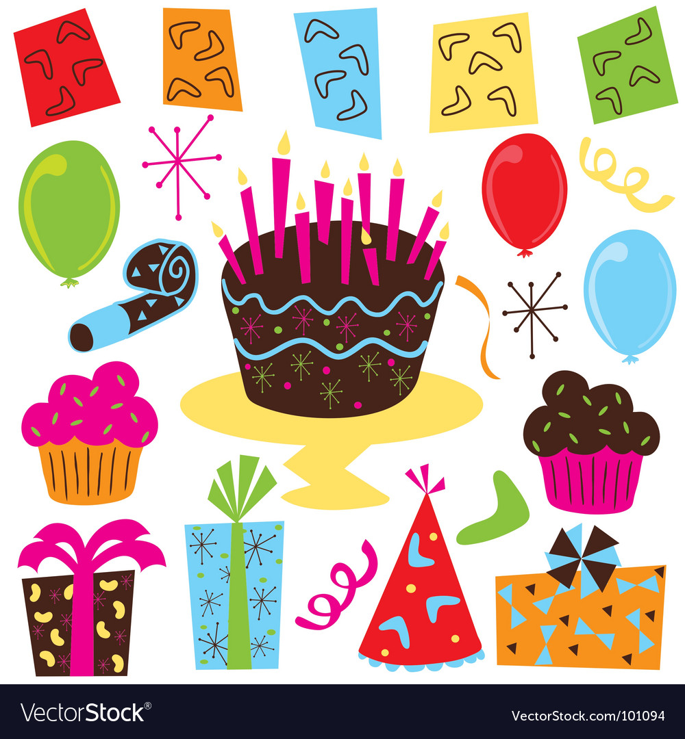 Birthday Party Balloons Clip Art. Retro Birthday Party clipart