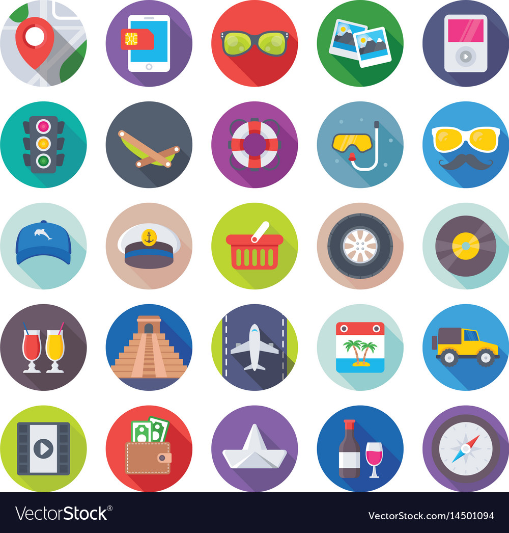 Summer and travel icons 4 vector image