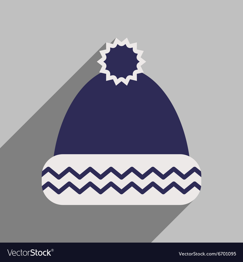 Flat icon with long shadow winter hat