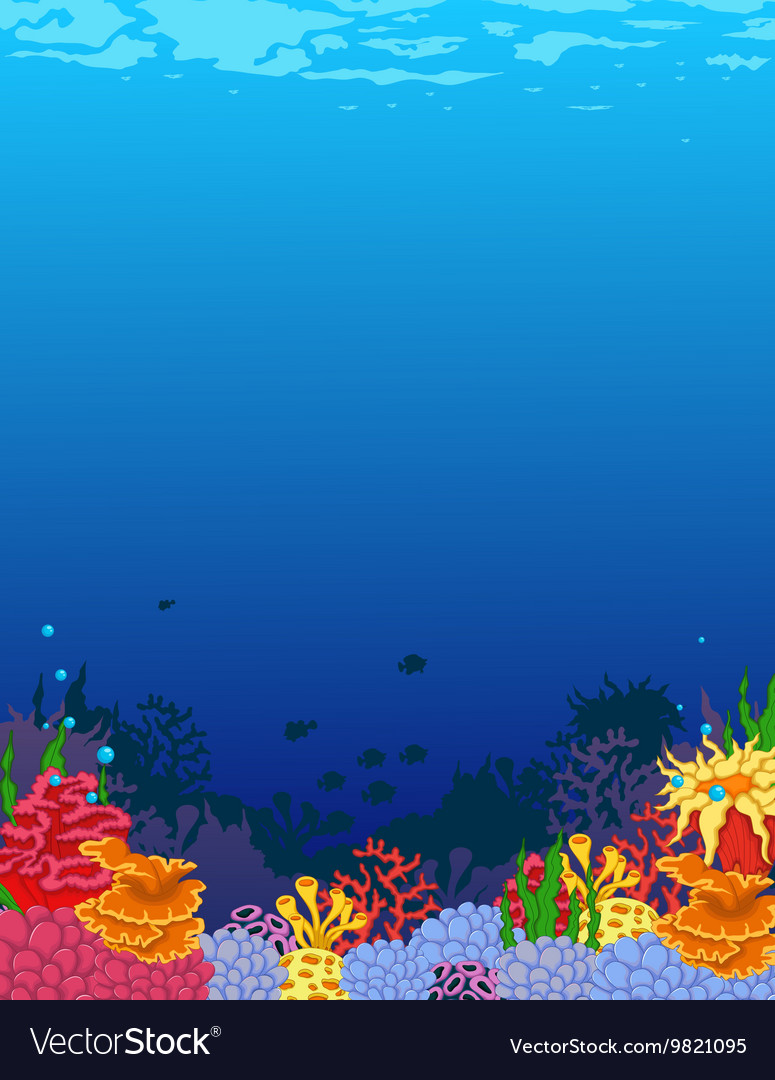 Beauty corals with underwater view background vector image