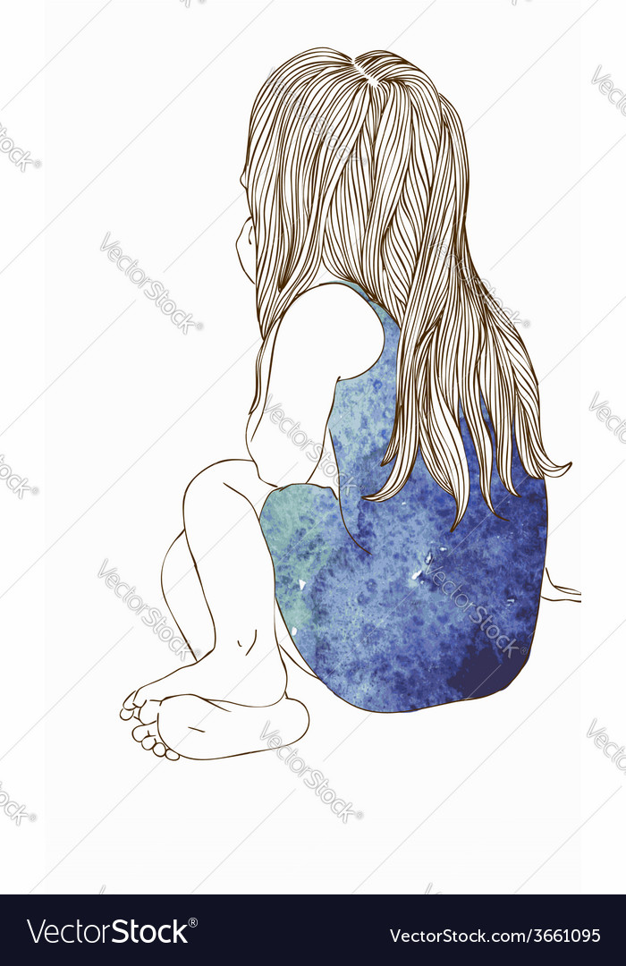 Little girl in a watercolor dress sitting vector image