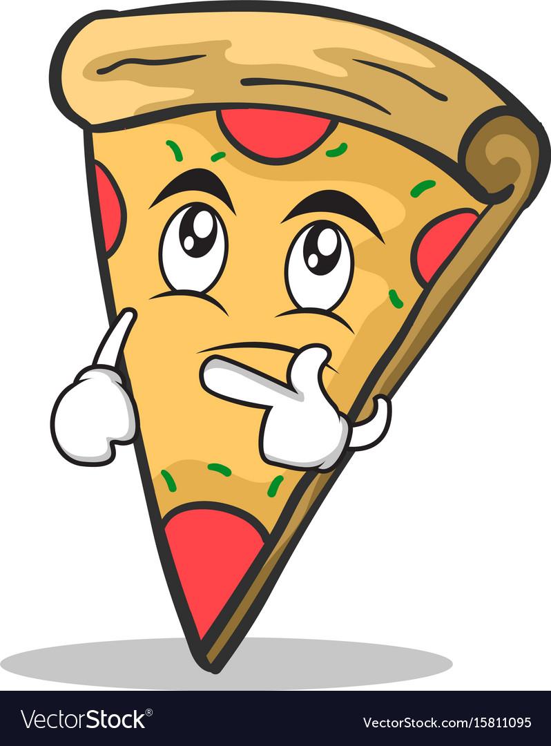 Thinking face pizza character cartoon vector image