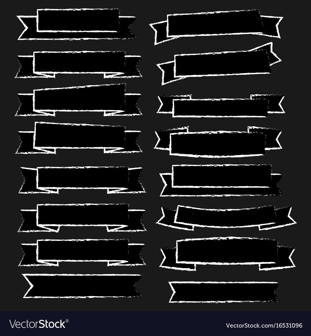 Chalk drawn ribbon vector image