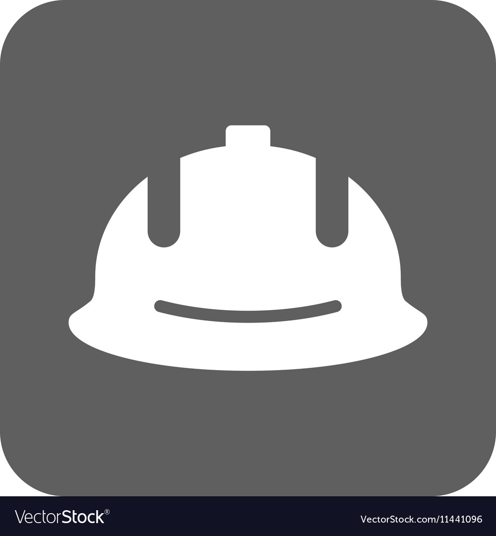 Construction Helmet Flat Squared Icon vector image