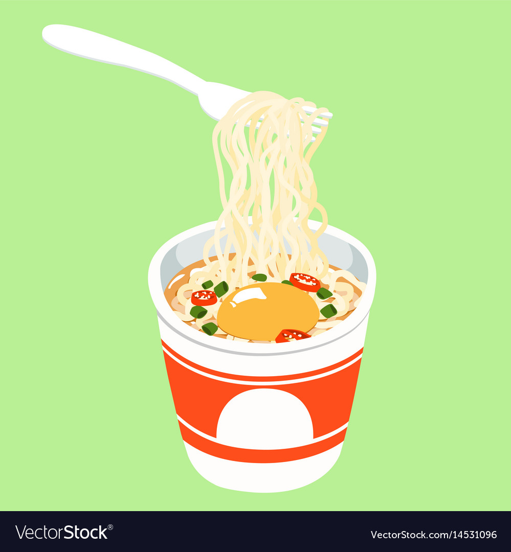 Instant noodle cup add egg vector image
