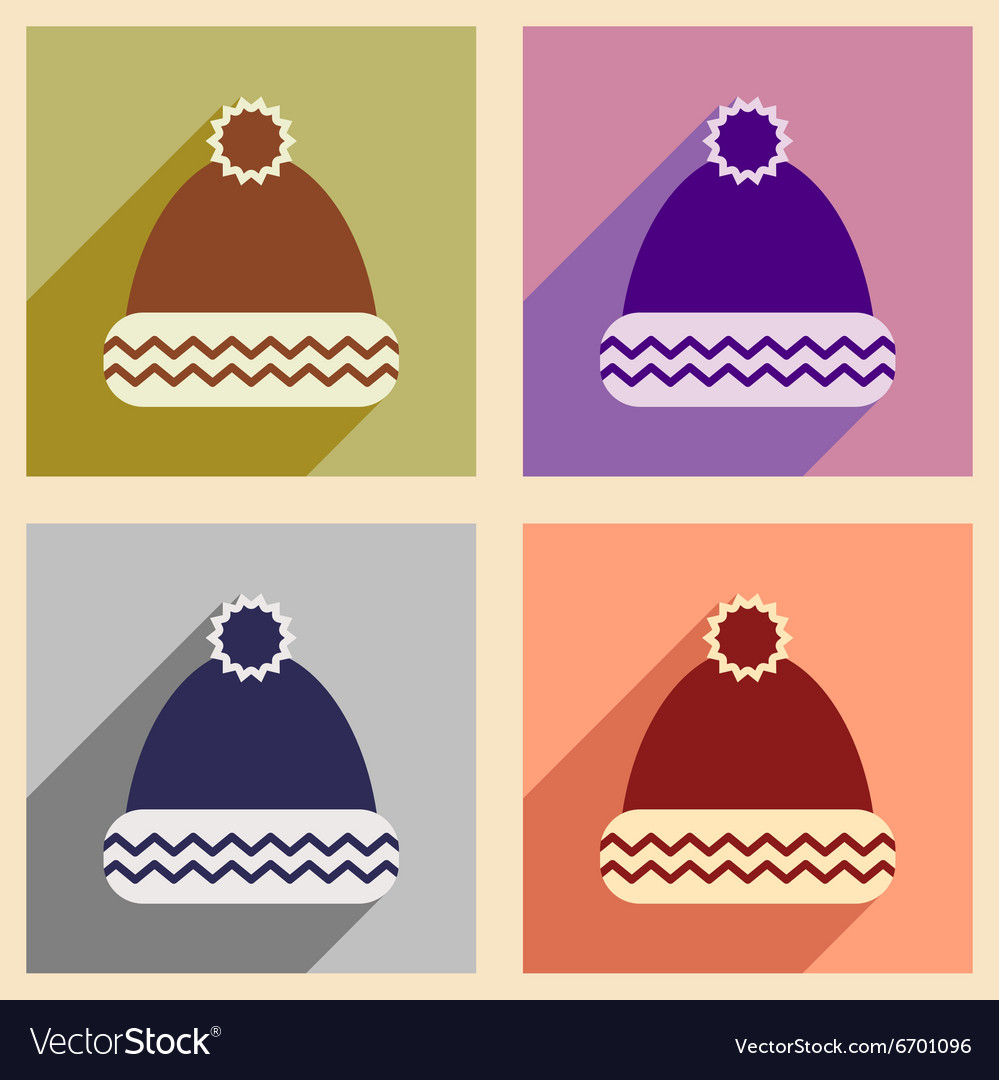 Set of flat icons with long shadow winter hat