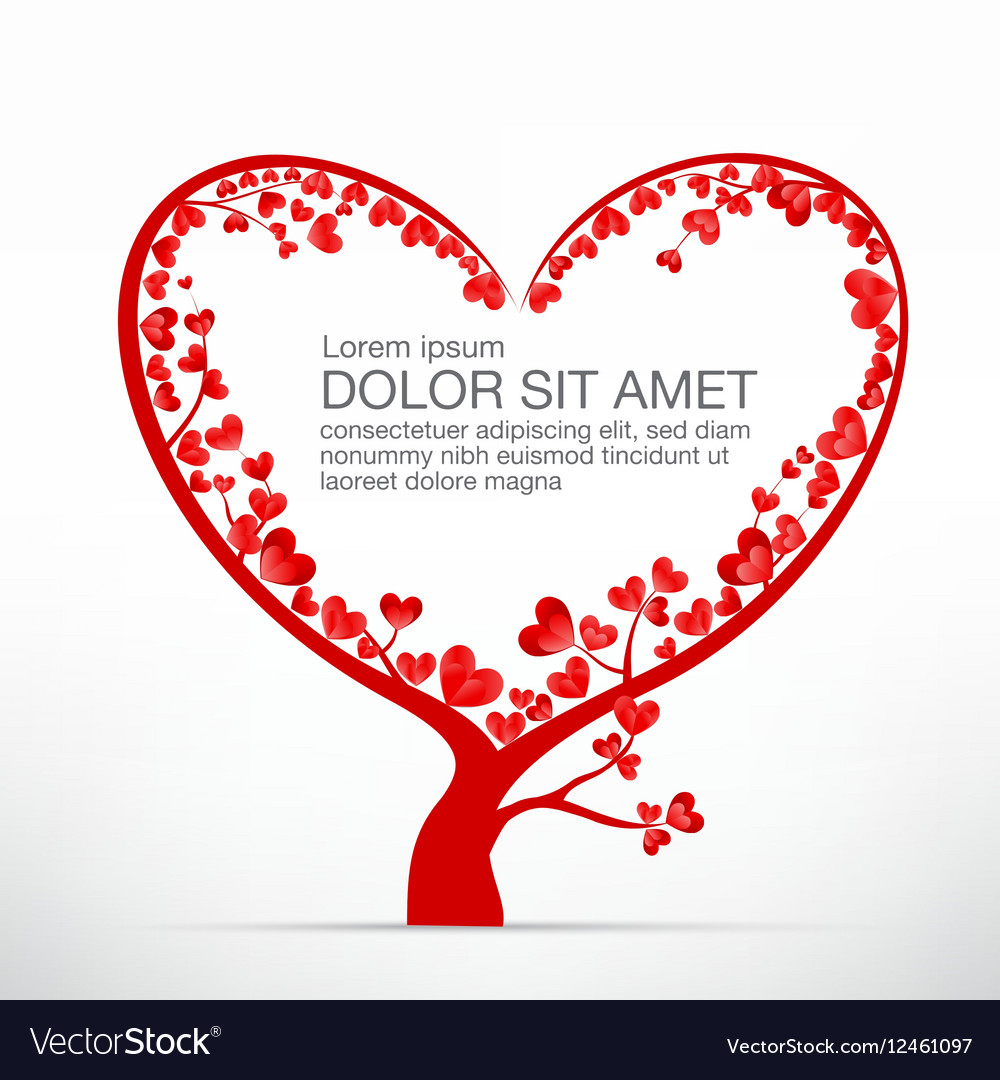 004 Heart Tree element for valentine day and vector image