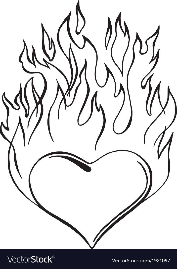 Flaming heart vector image