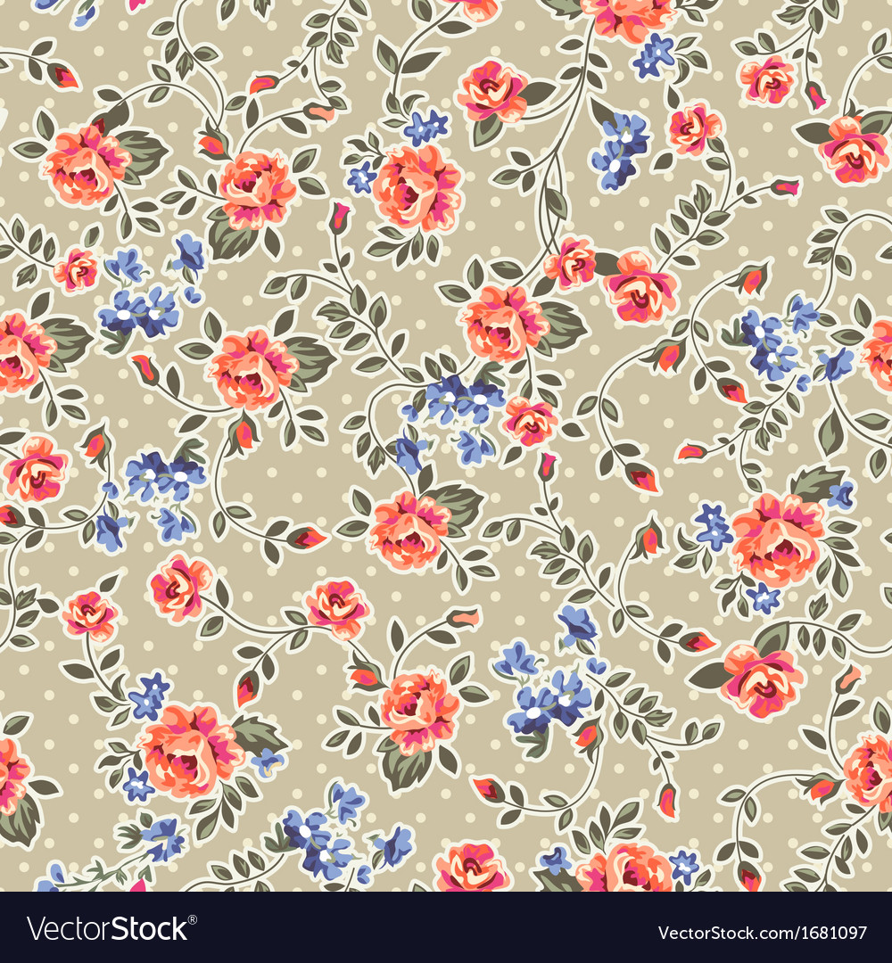 Retro classical roses on dots vector image