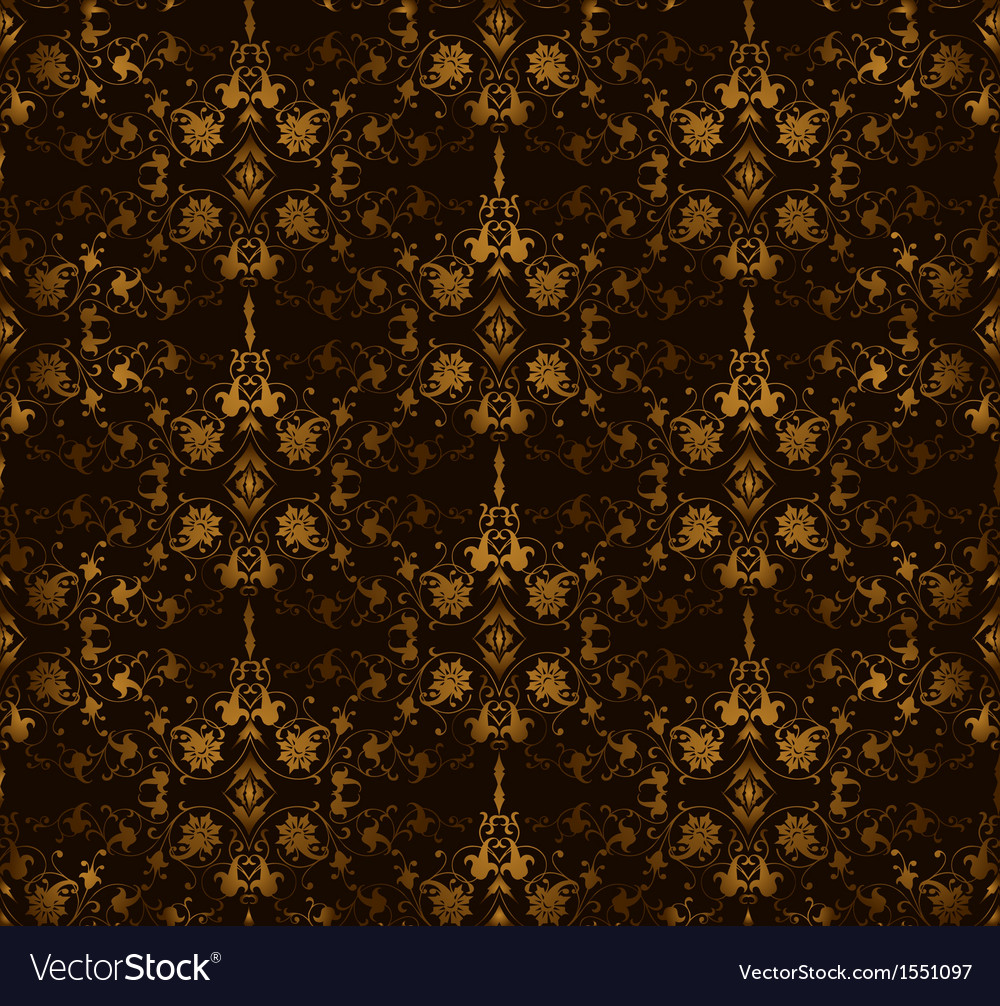 Seamless floral on a brown background vector image