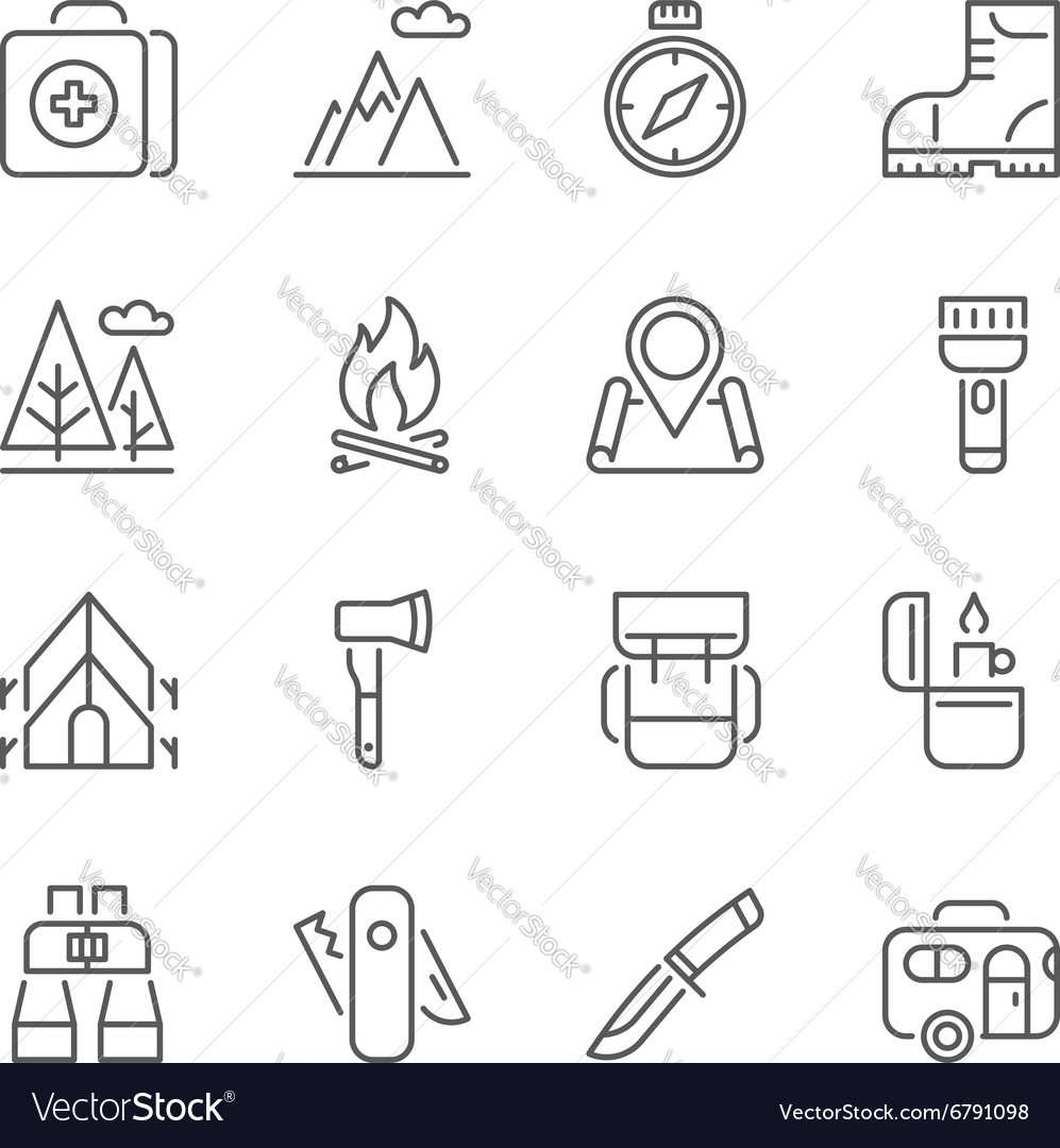 Camping Hiking Nature Outdoor Activities icons vector image