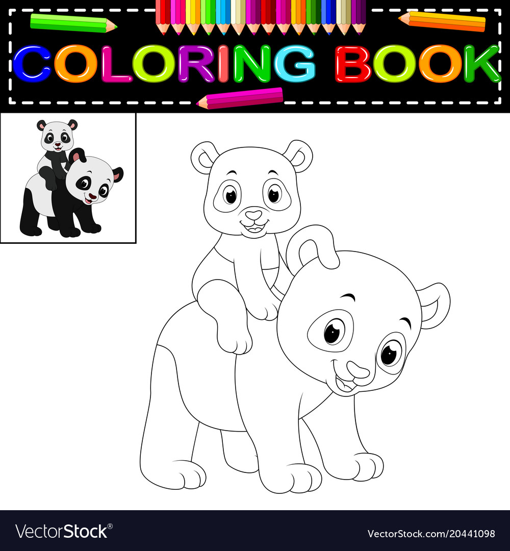 Cute happy panda coloring book Royalty Free Vector Image