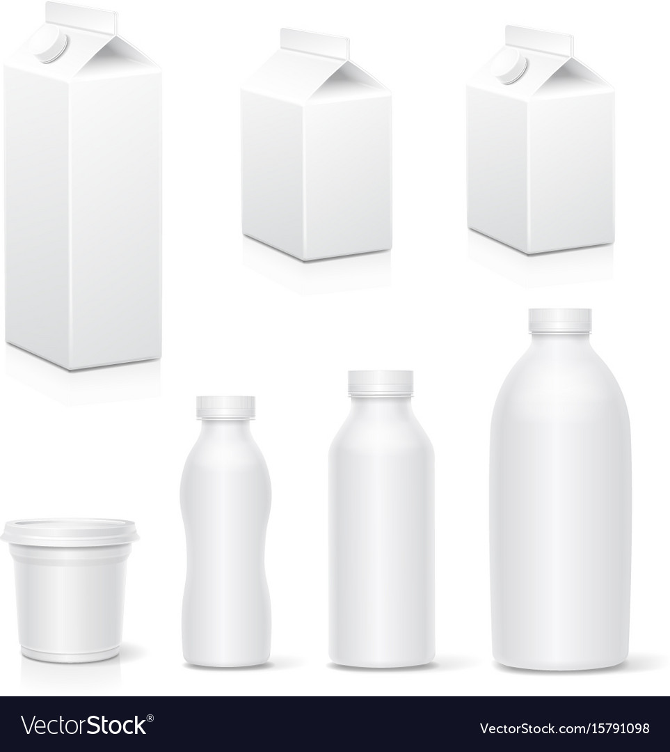 Milk and juice white carton package boxes vector image