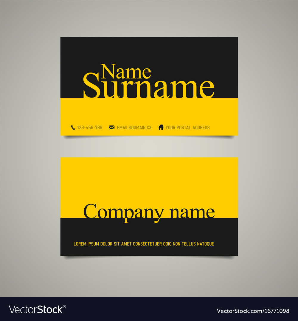 Modern Simple Business Card Template With Big Name - Simple business card templates