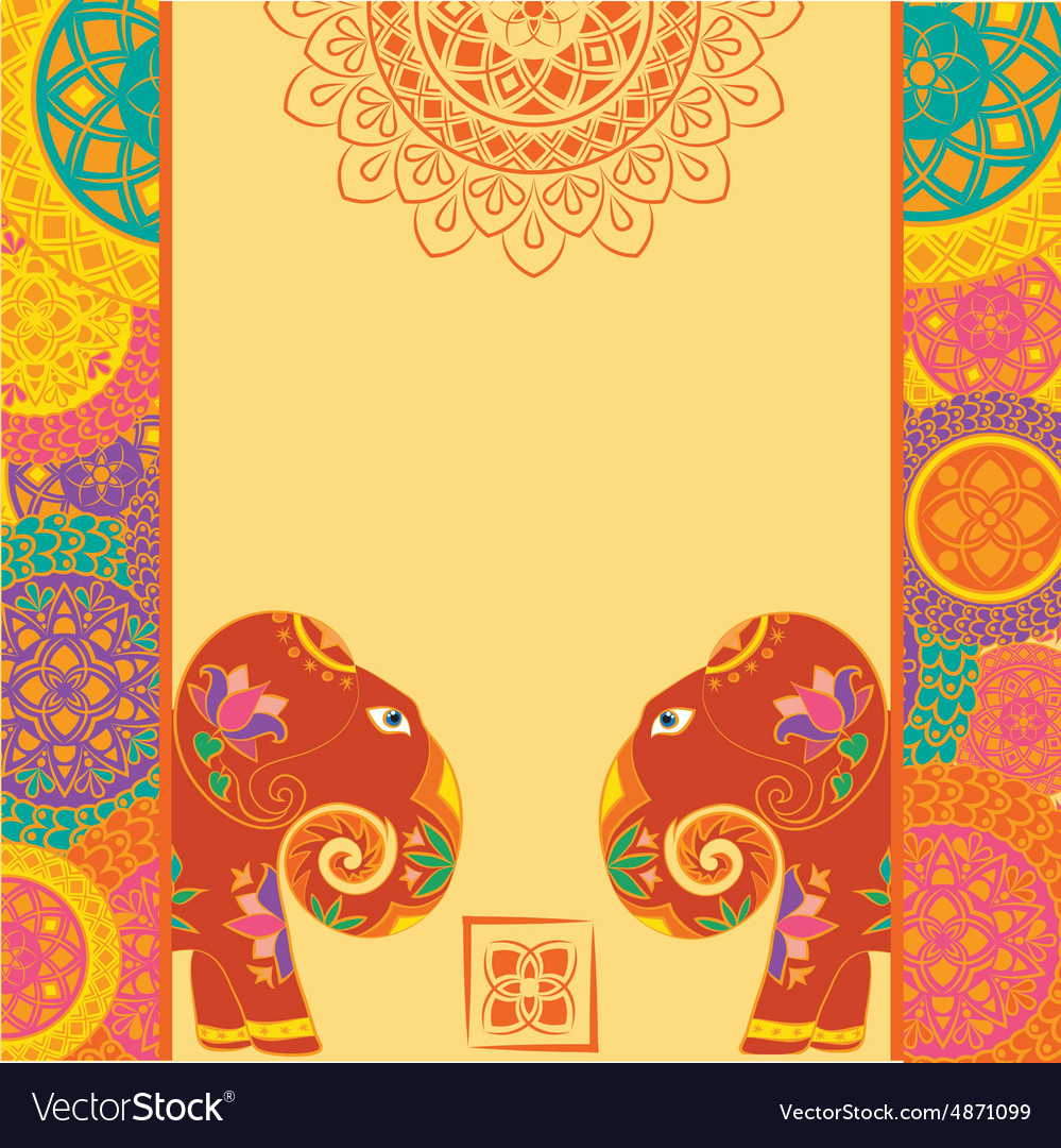 indian elephant and frame with mandalas vector image - Elephant Picture Frame