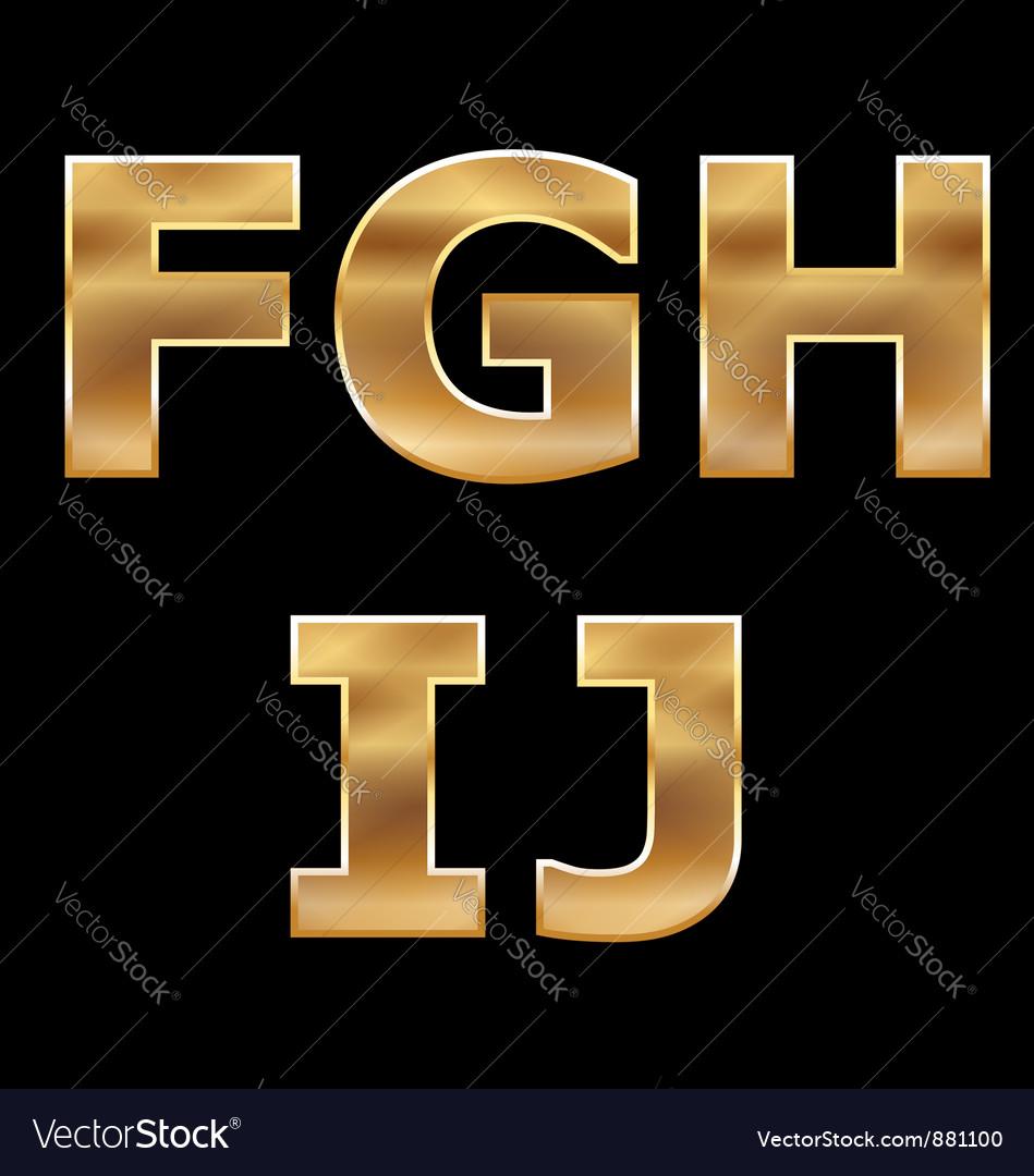 Gold Letters Set F-J vector image
