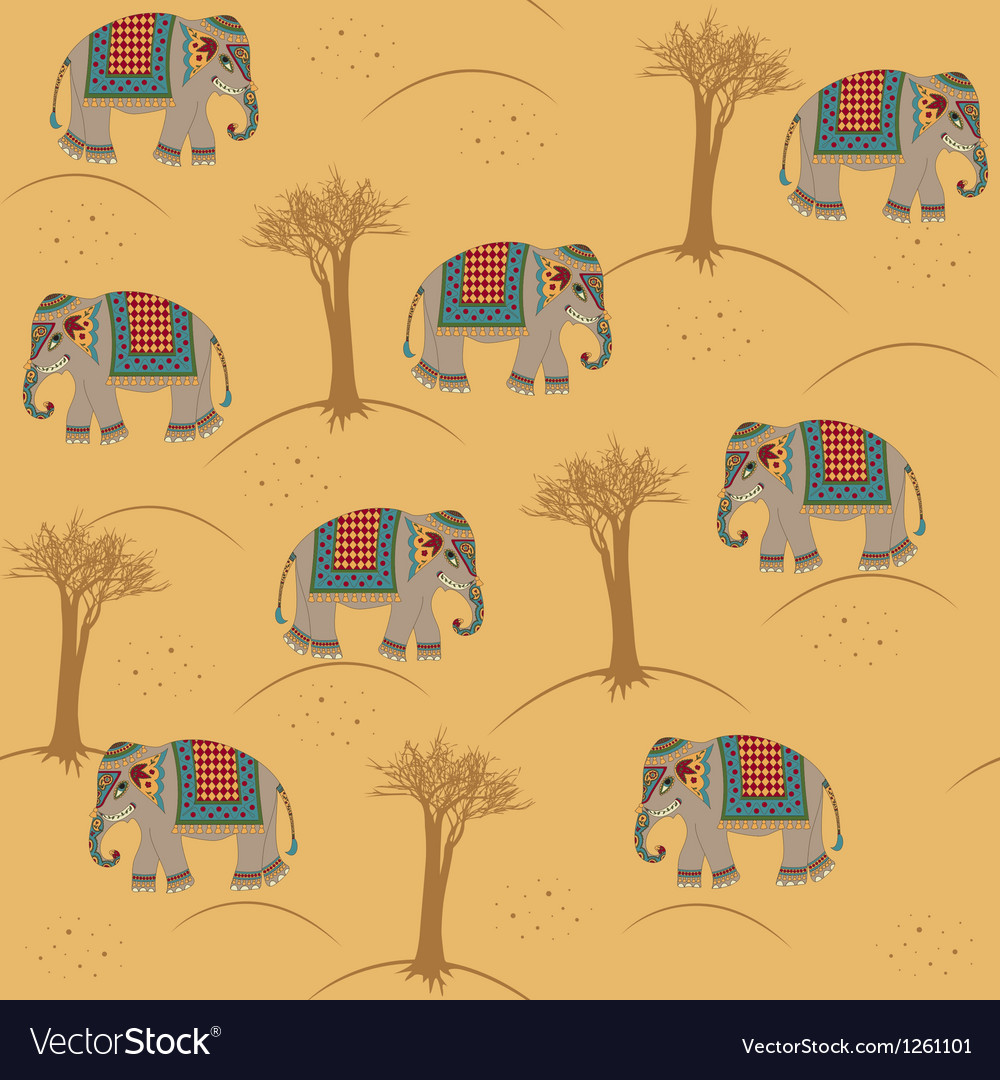 Indian pattern with elephant vector image