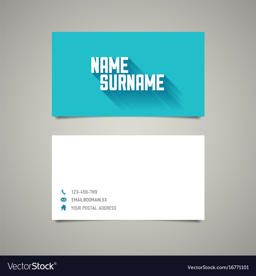 Modern simple business card template with long vector image wajeb Image collections