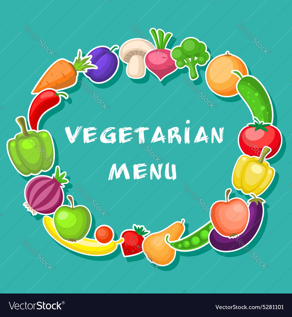 Vegetarian background with fruits and vegetables vector image