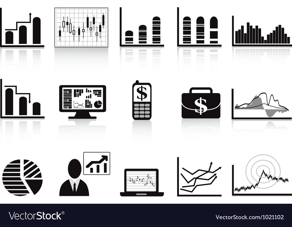 Black business charts icon vector image