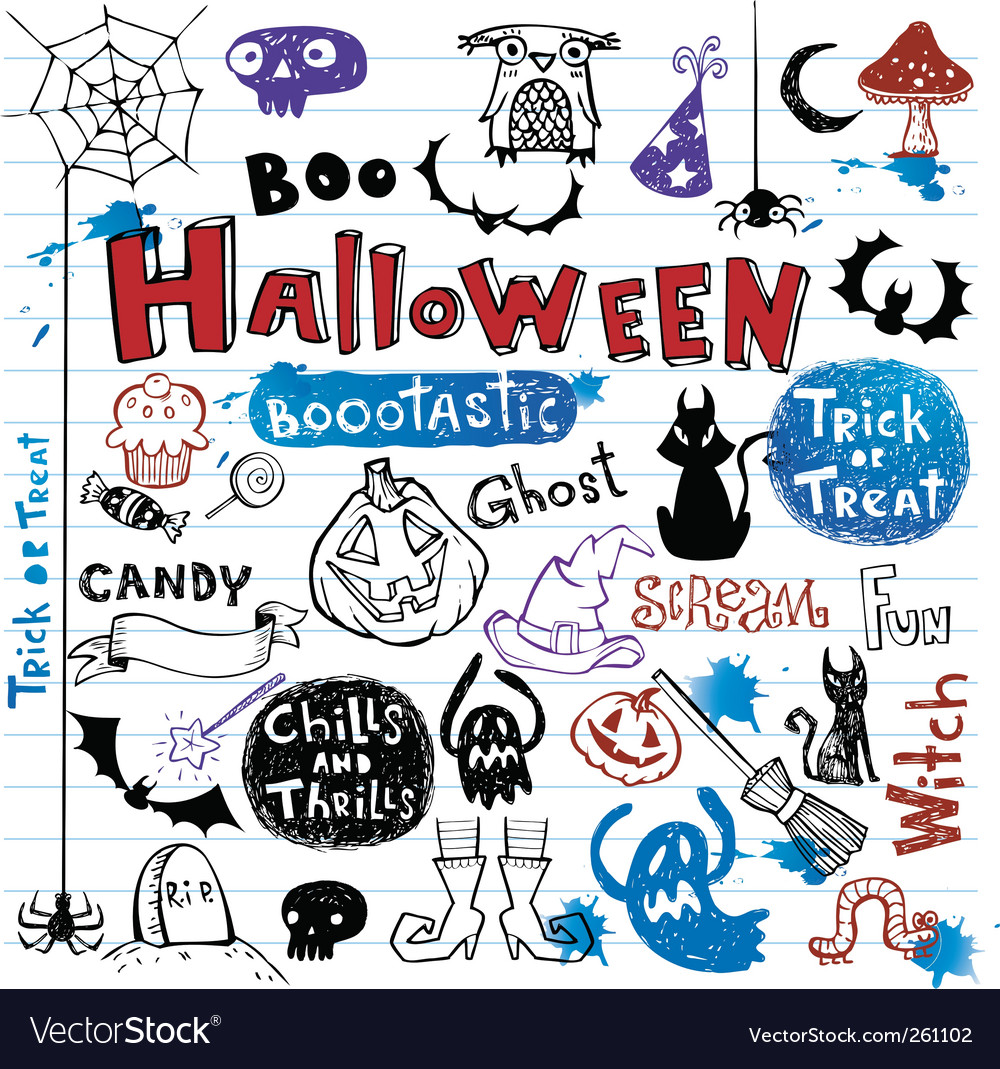 Halloween doodle set Royalty Free Vector Image