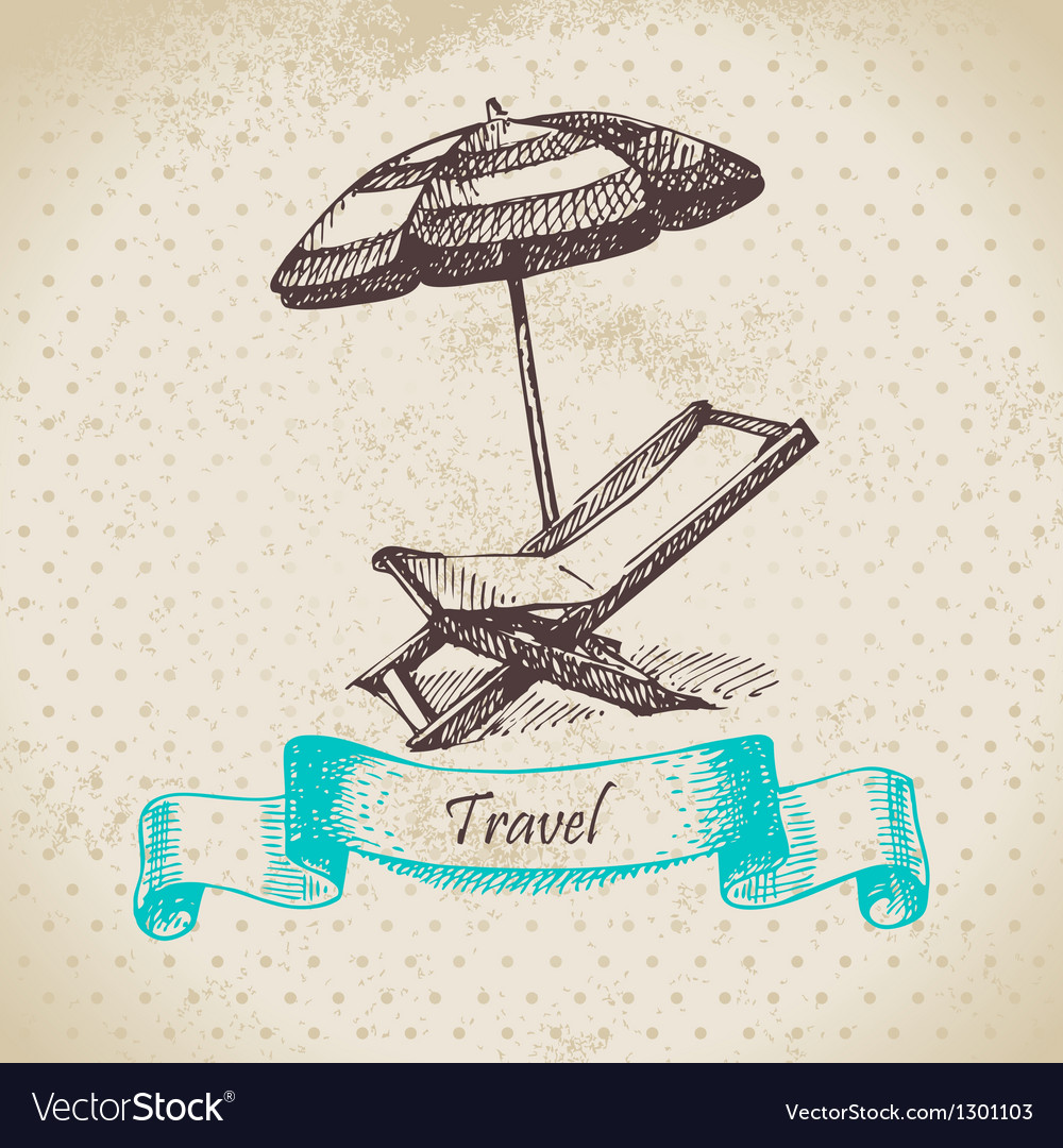 Background with beach armchair and umbrella vector image