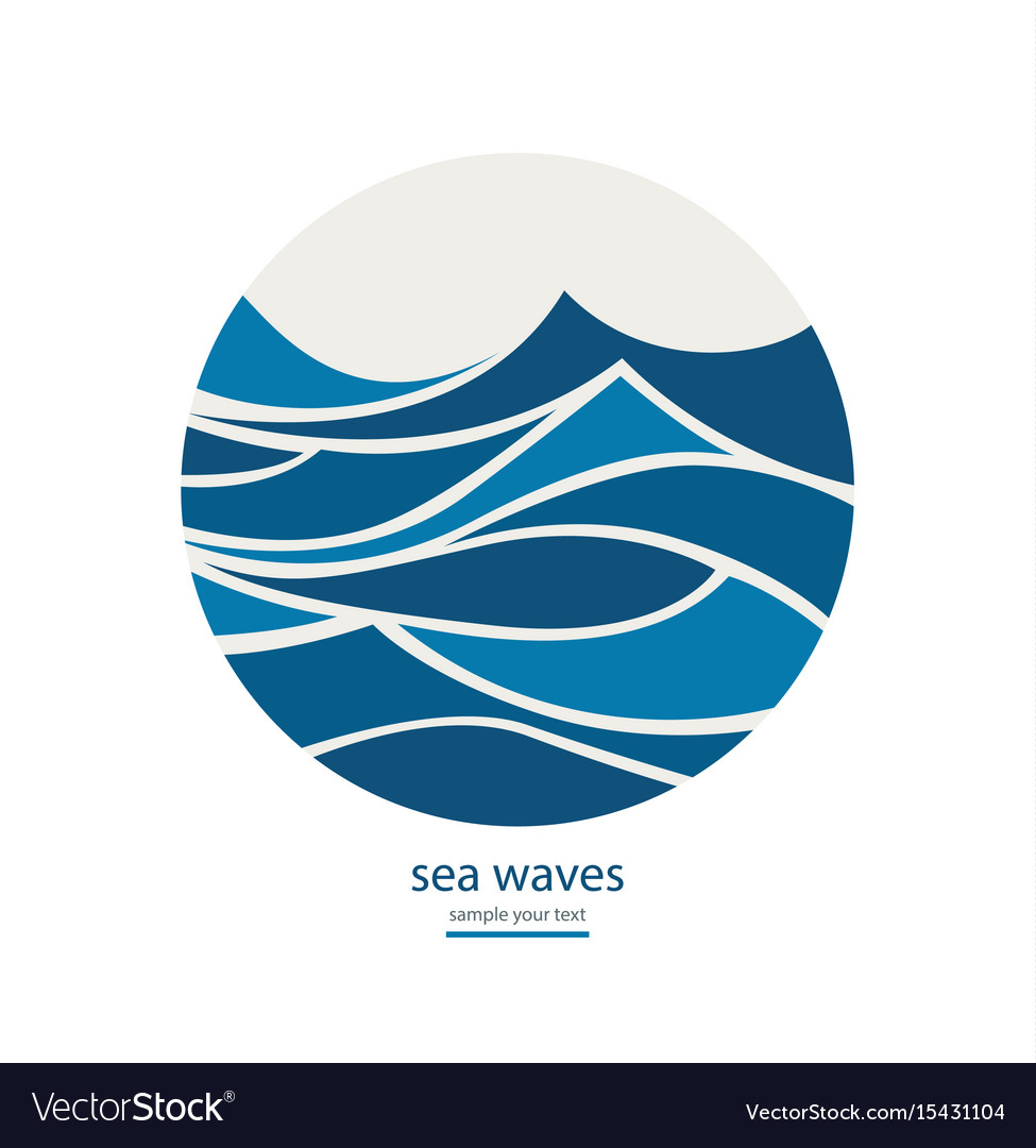 Abstract background with round frame of waves vector image