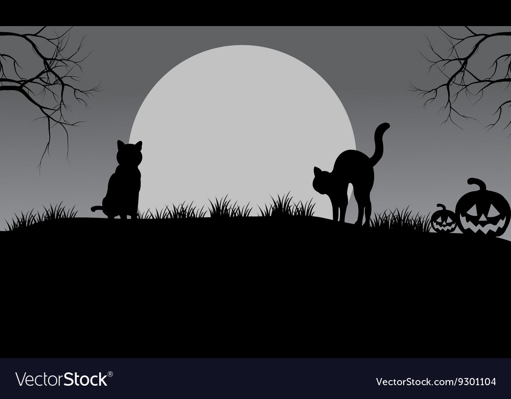 Halloween cat silhouette and moon Royalty Free Vector Image