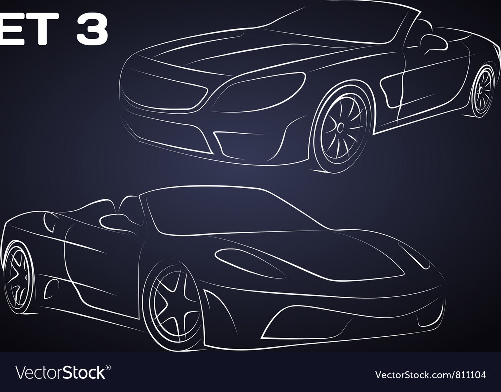 Sport cars silhouettes vector image