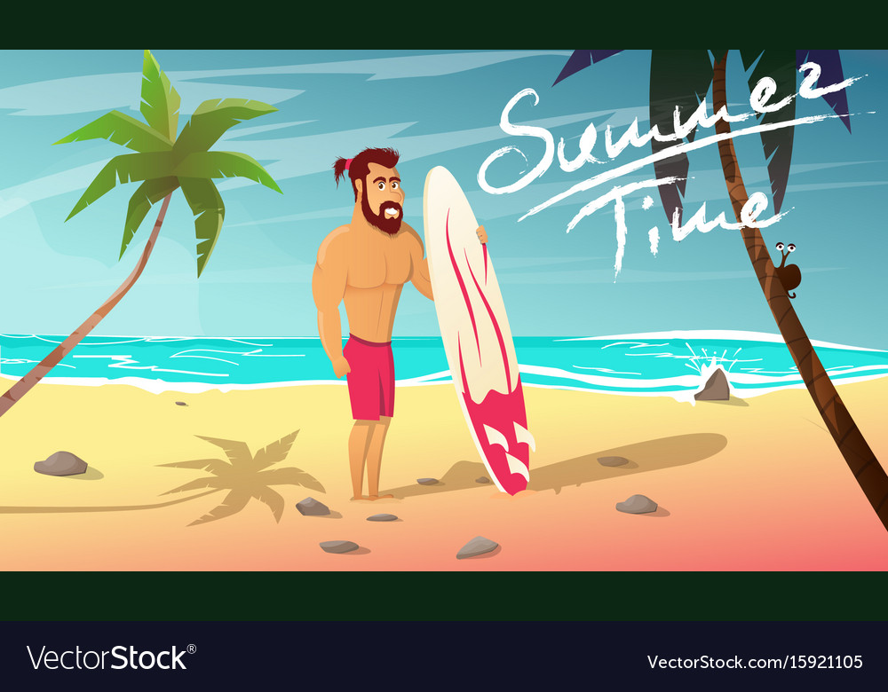 Surfer with surfing board stands on beach vector image